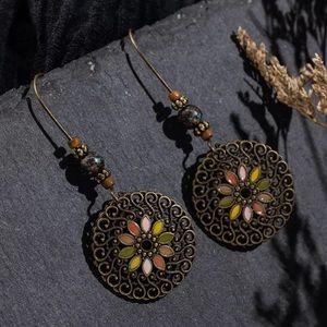 BOGO! Fall Tone Bronze Boho Medallion Earrings